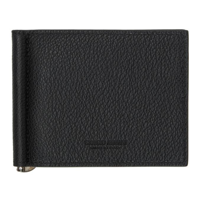 Giorgio Armani Black Money Clip Billfold Wallet