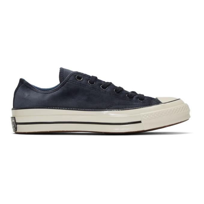 Photo: Converse Navy Velvet Chuck 70 OX Sneakers