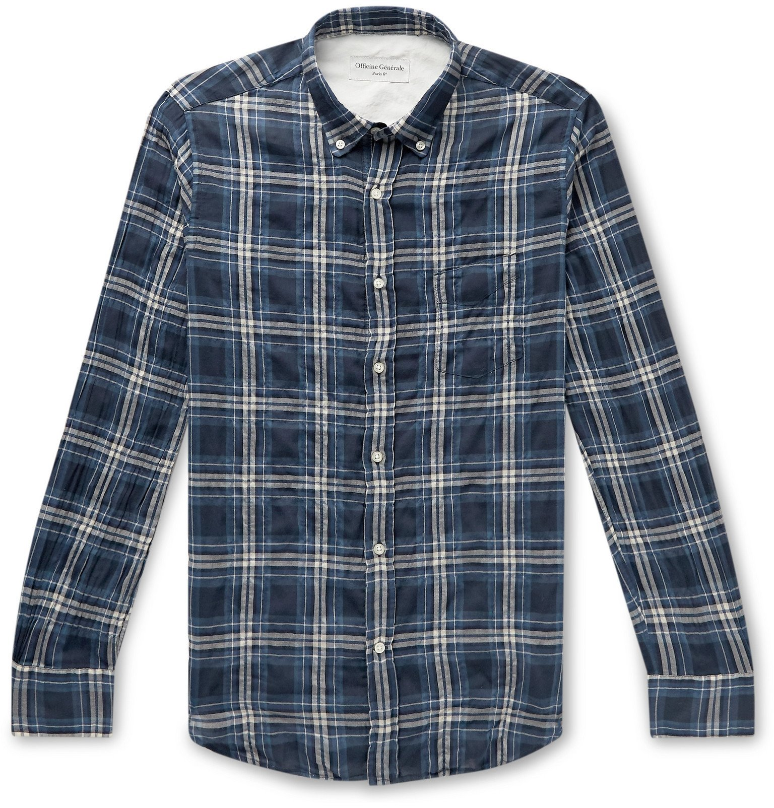 Photo: Officine Generale - Button-Down Collar Checked Cotton-Blend Flannel Shirt - Blue
