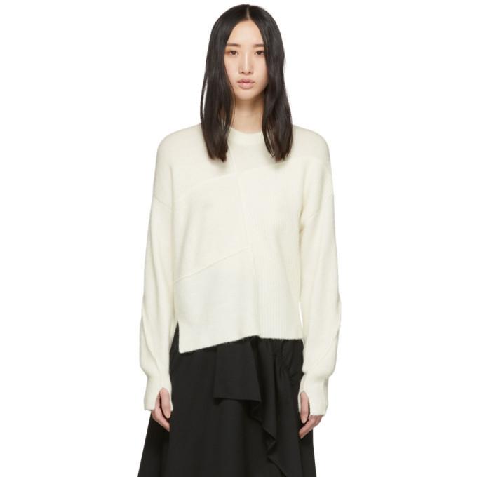 3.1 Phillip Lim White Wool Lofty Basket Weave Sweater