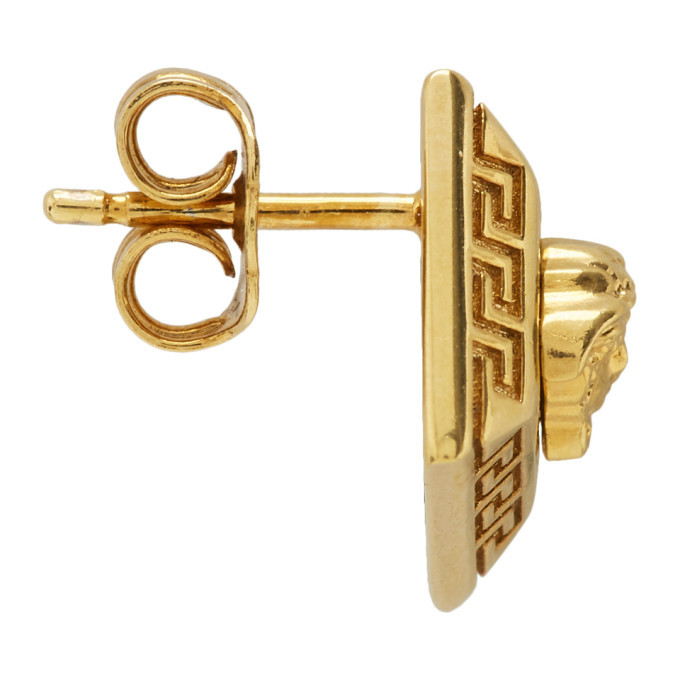 Versace Gold Rhombus Stud Earrings