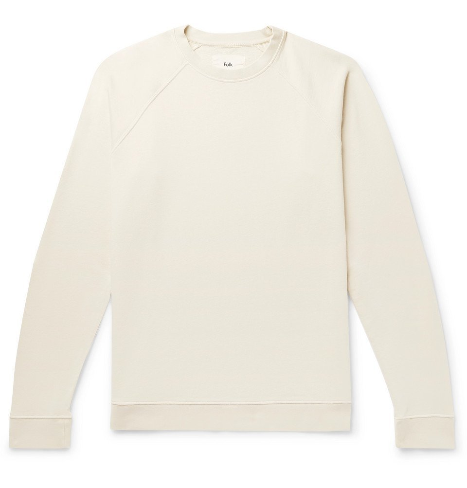 Photo: Folk - Rivet Garment-Dyed Loopback Cotton-Jersey Sweatshirt - Off-white