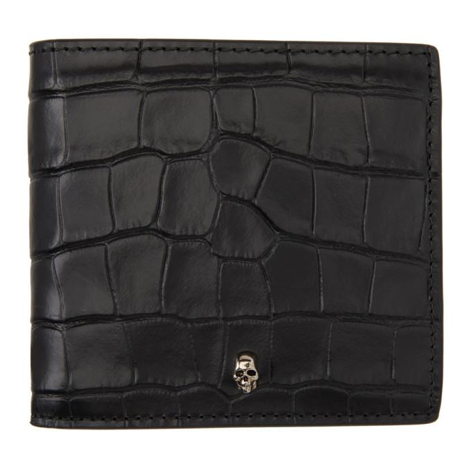 Photo: Alexander McQueen Black Croc Skull Bifold Wallet