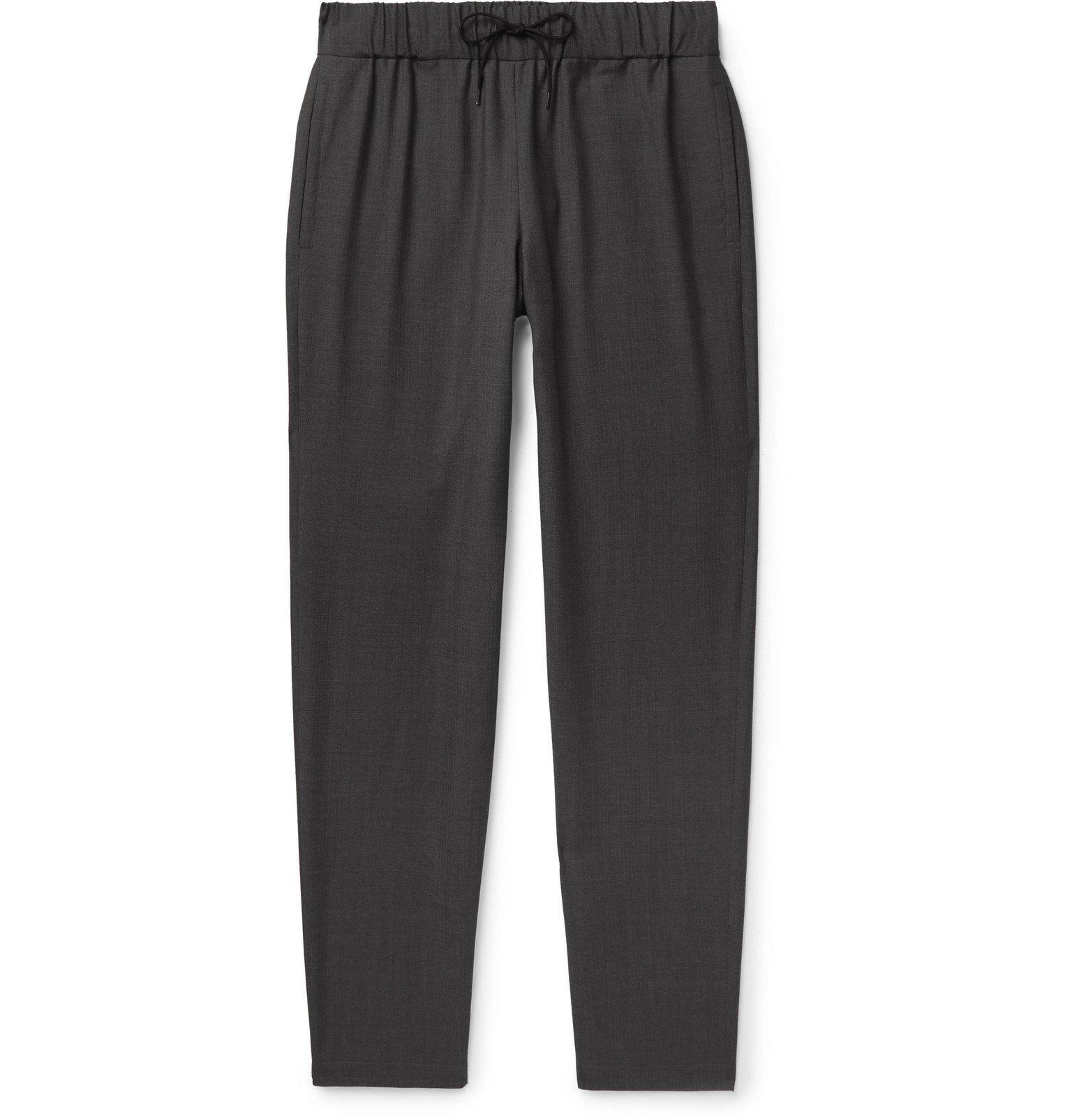 Photo: A.P.C. - Kaplan Herringbone Cotton Drawstring Trousers - Gray