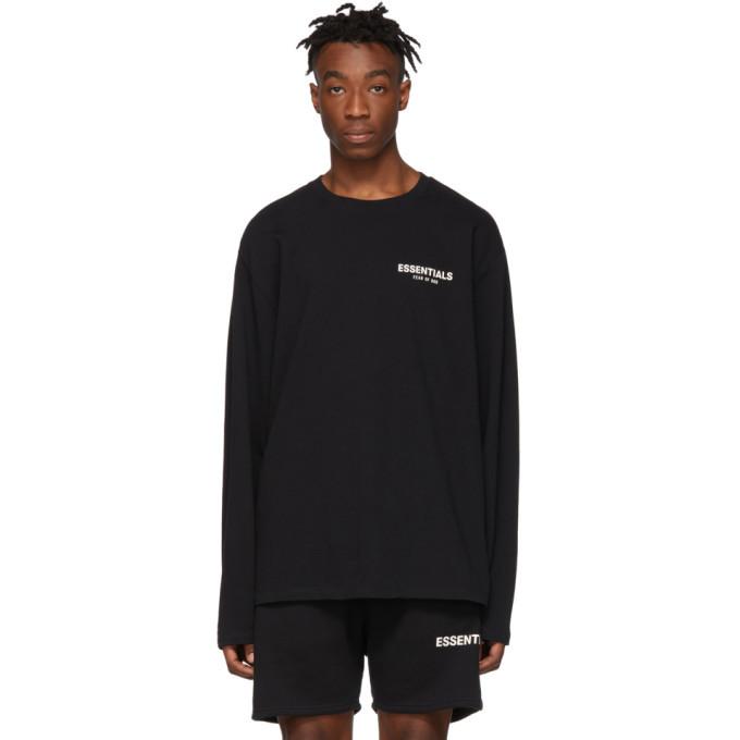 Photo: Essentials Black Logo Long Sleeve T-Shirt