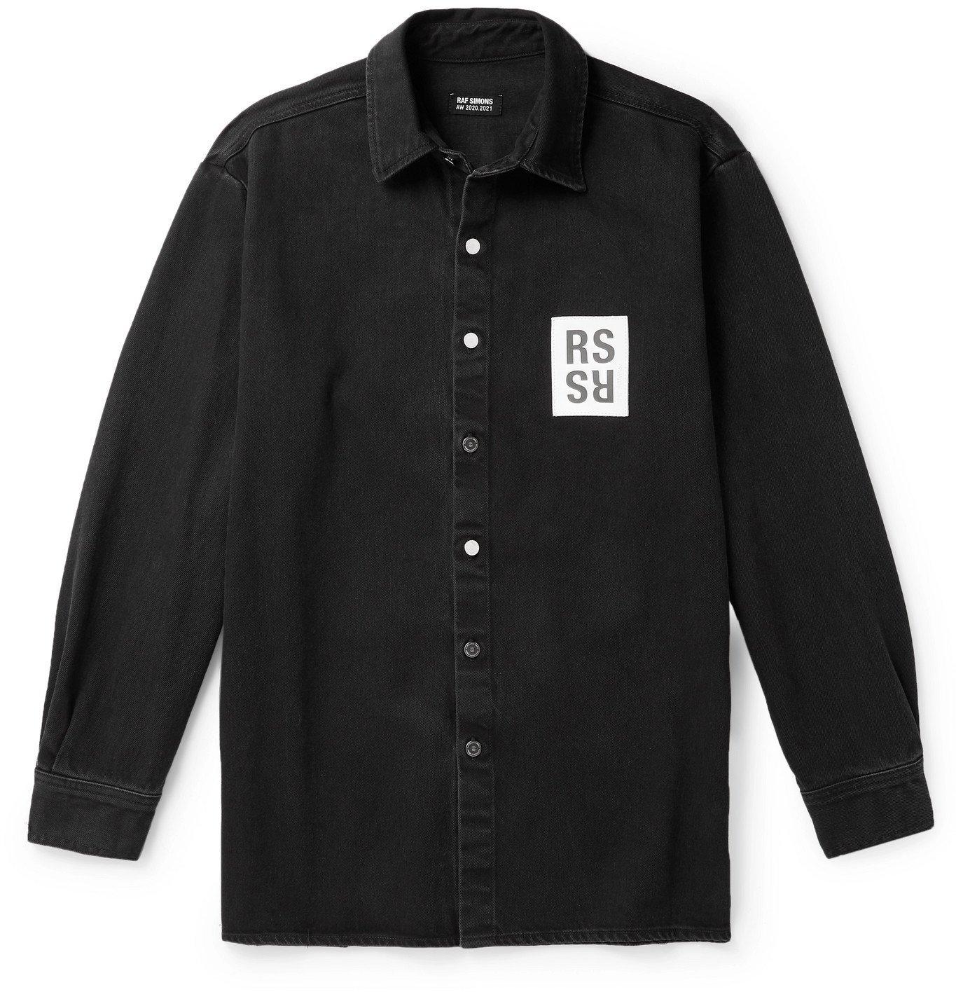 Raf Simons - Logo-Appliquéd Denim Shirt - Black