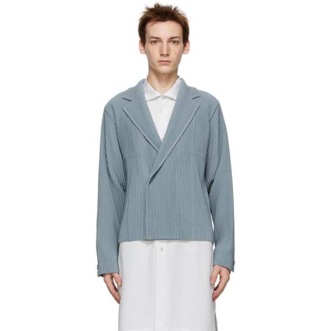 Photo: Homme Plisse Issey Miyake Grey Tailored Pleats Double-Breasted Blazer
