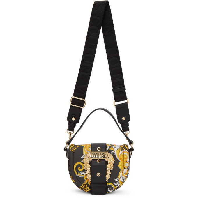 Versace Jeans Couture Black Faux-Leather Baroque Round Buckle Bag