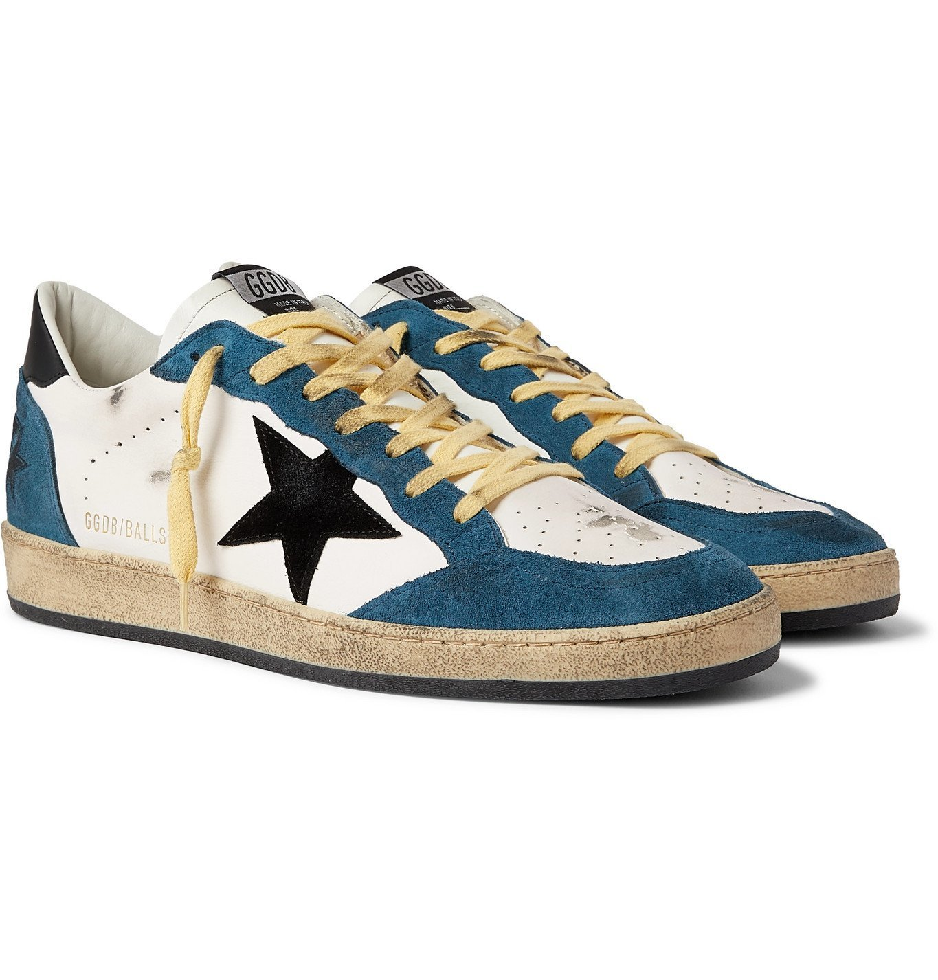Photo: Golden Goose - Ballstar Distressed Leather and Suede Sneakers - White