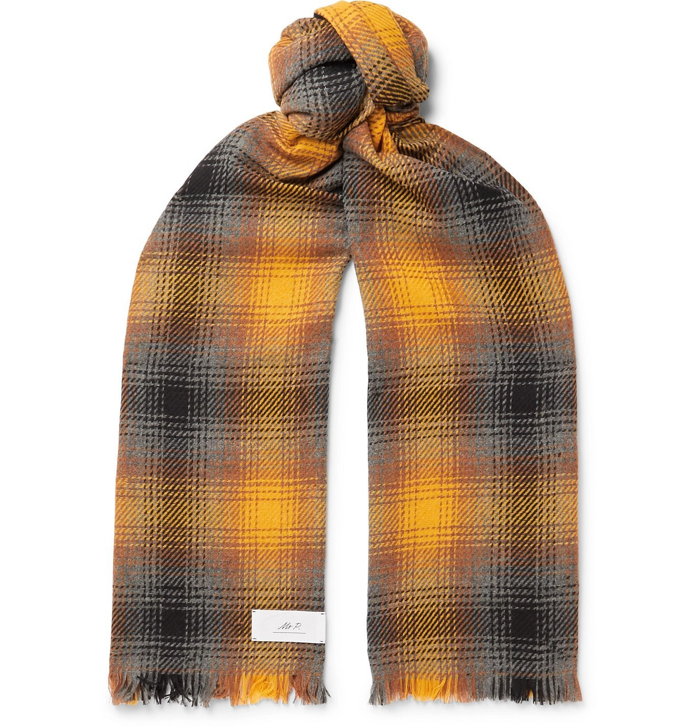 Photo: Mr P. - Fringed Checked Wool and Cashmere-Blend Scarf - Yellow