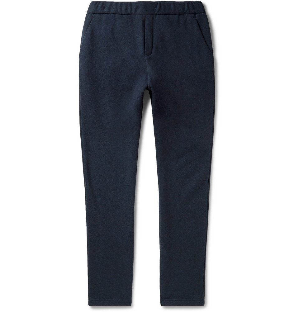 Photo: Bottega Veneta - Tapered Intrecciato Leather-Trimmed Fleece-Back Cotton and Wool-Blend Sweatpants - Men - Navy
