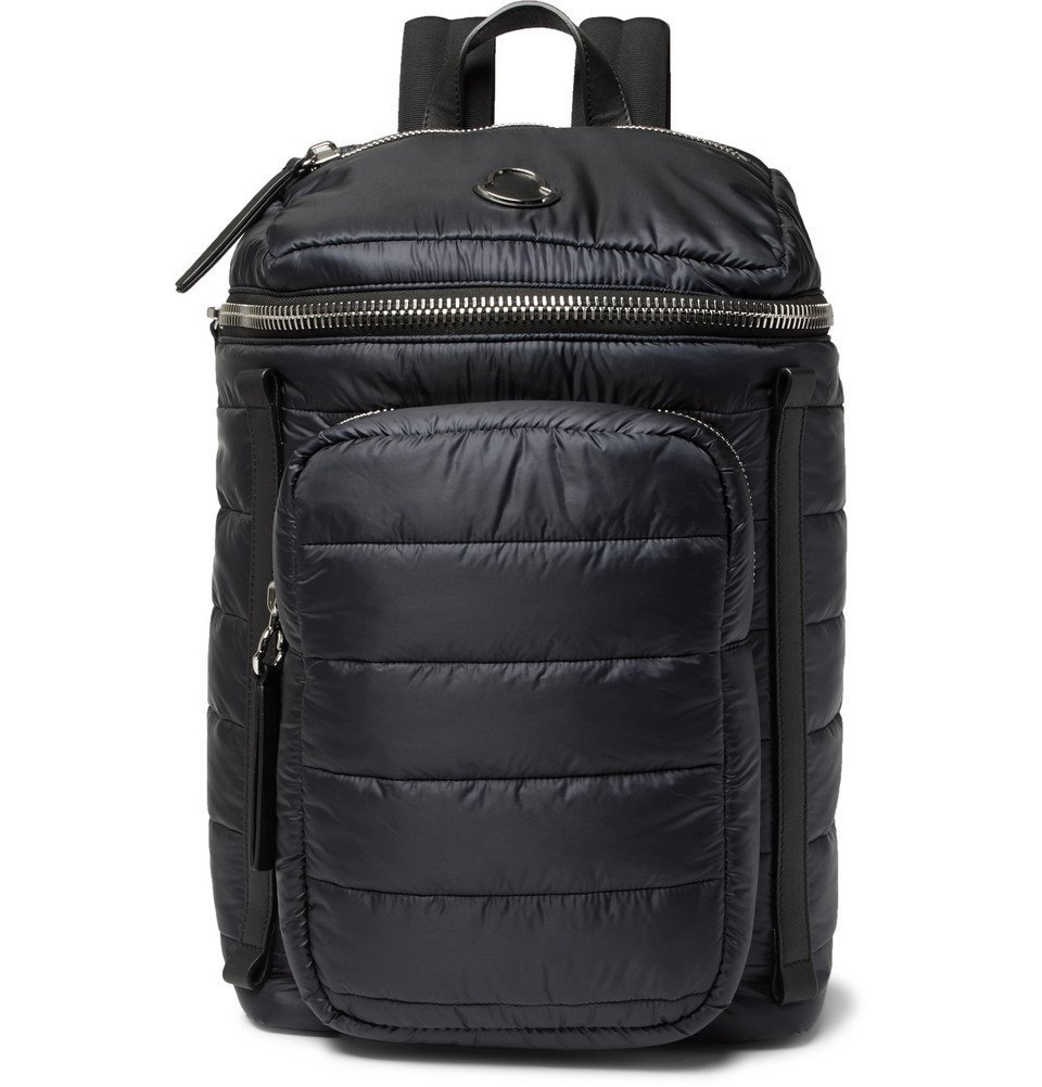 Photo: Moncler - New Yannick Leather-Trimmed Quilted Shell Backpack - Men - Navy