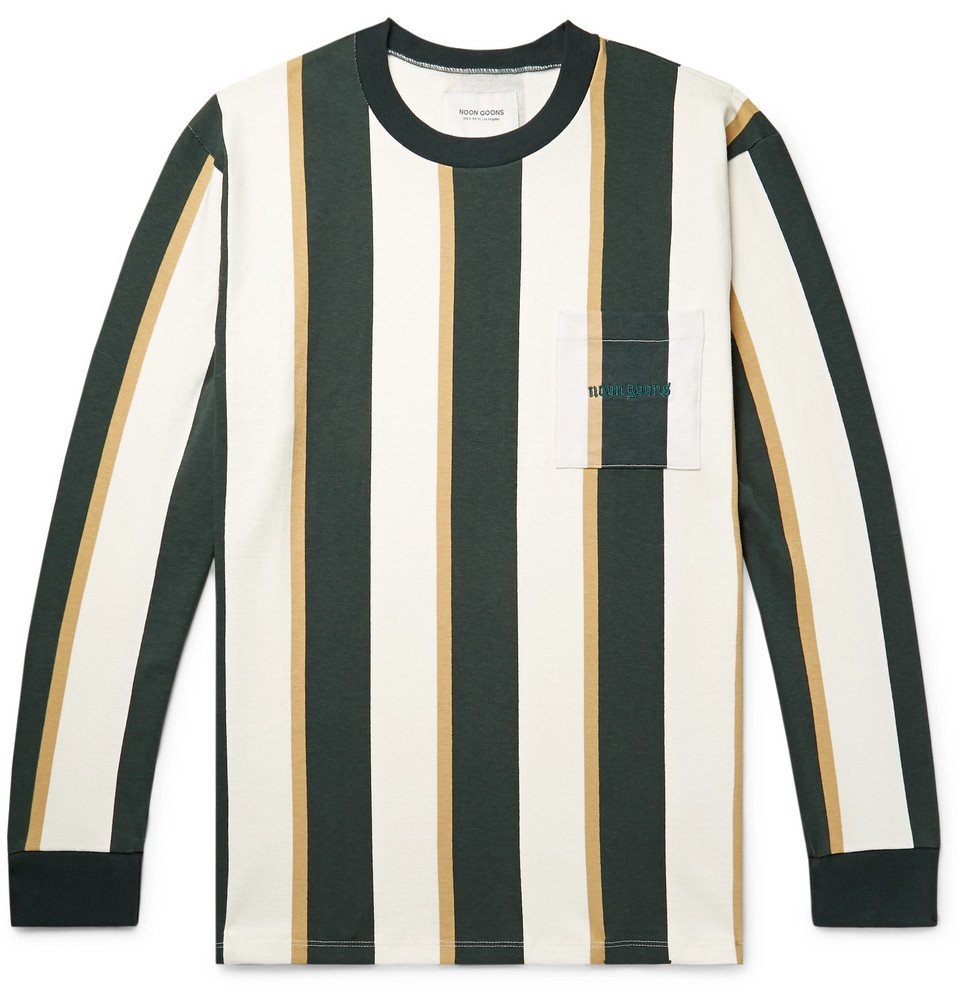 Photo: Noon Goons - Mumma Logo-Embroidered Striped Cotton-Jersey T-Shirt - Forest green