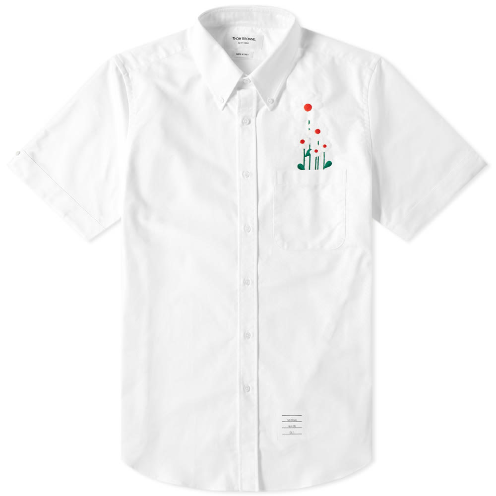 Photo: Thom Browne Short Sleeve Daisy Embroidered Button Down Shirt White