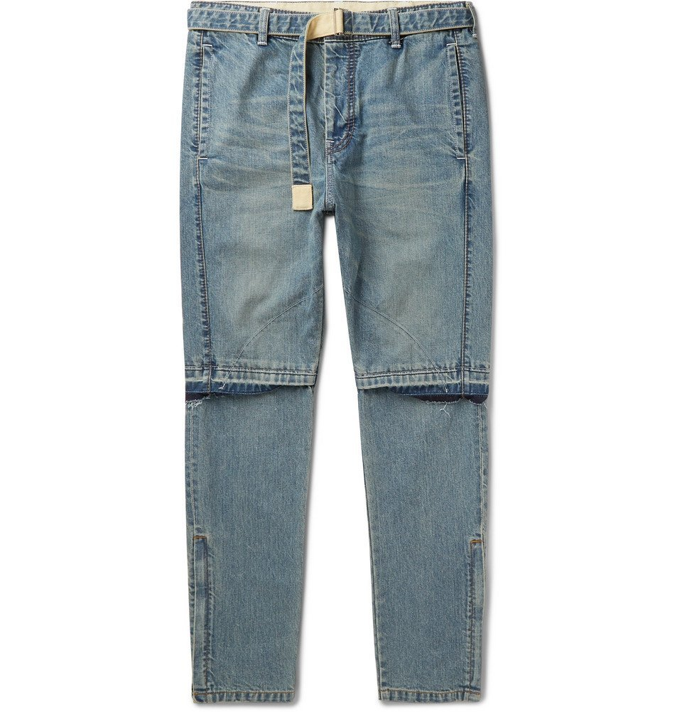 Photo: Sacai - Tapered Zip-Detailed Denim Jeans - Navy