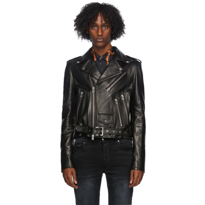 Photo: Amiri Black Leather Lightweight Biker Jacket