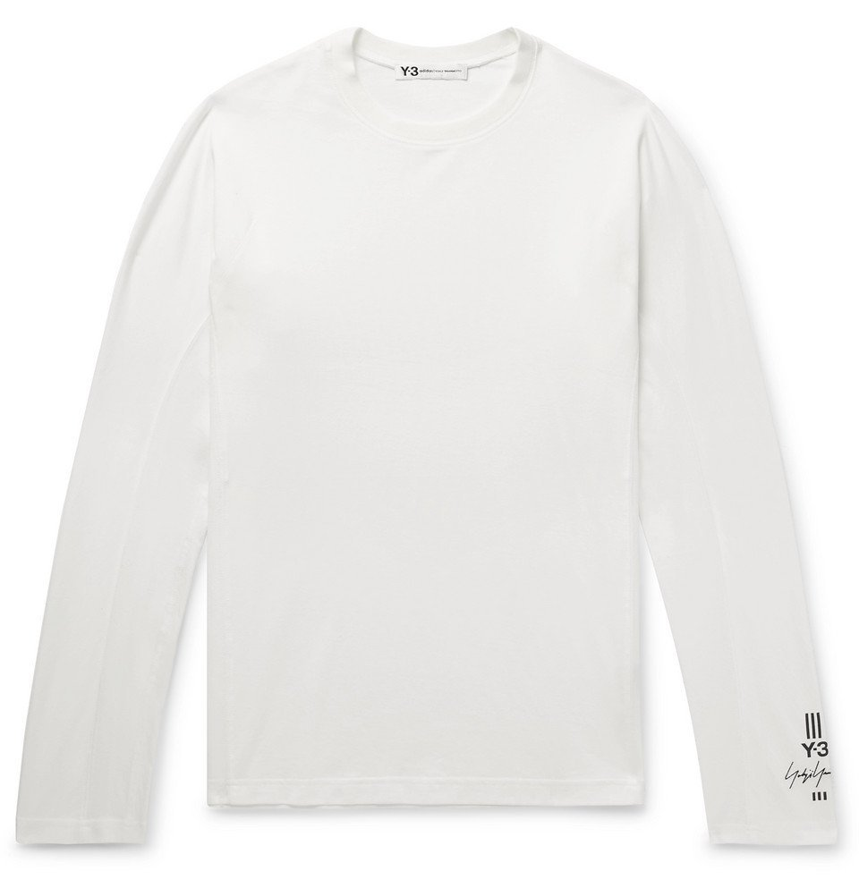 Photo: Y-3 - Logo-Embroidered Stretch-Cotton Jersey T-Shirt - Men - White