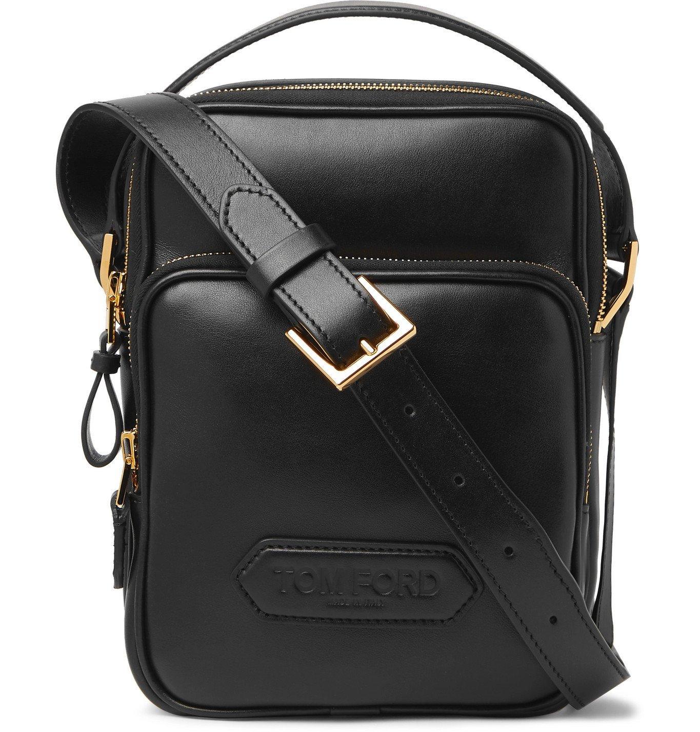 Photo: TOM FORD - Logo-Appliquéd Leather Messenger Bag - Black