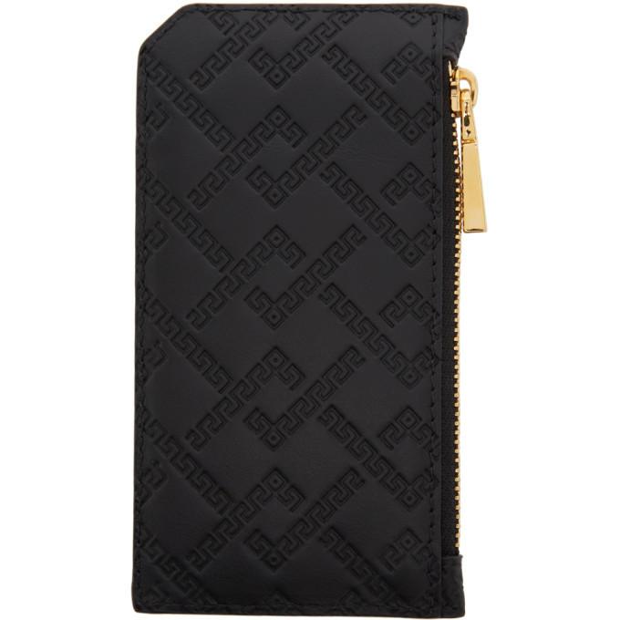 Versace Black Greek Key Zip Card Holder