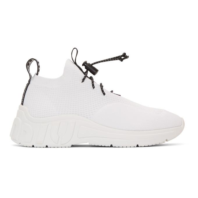 Miu Miu White Technical Knit Sneakers