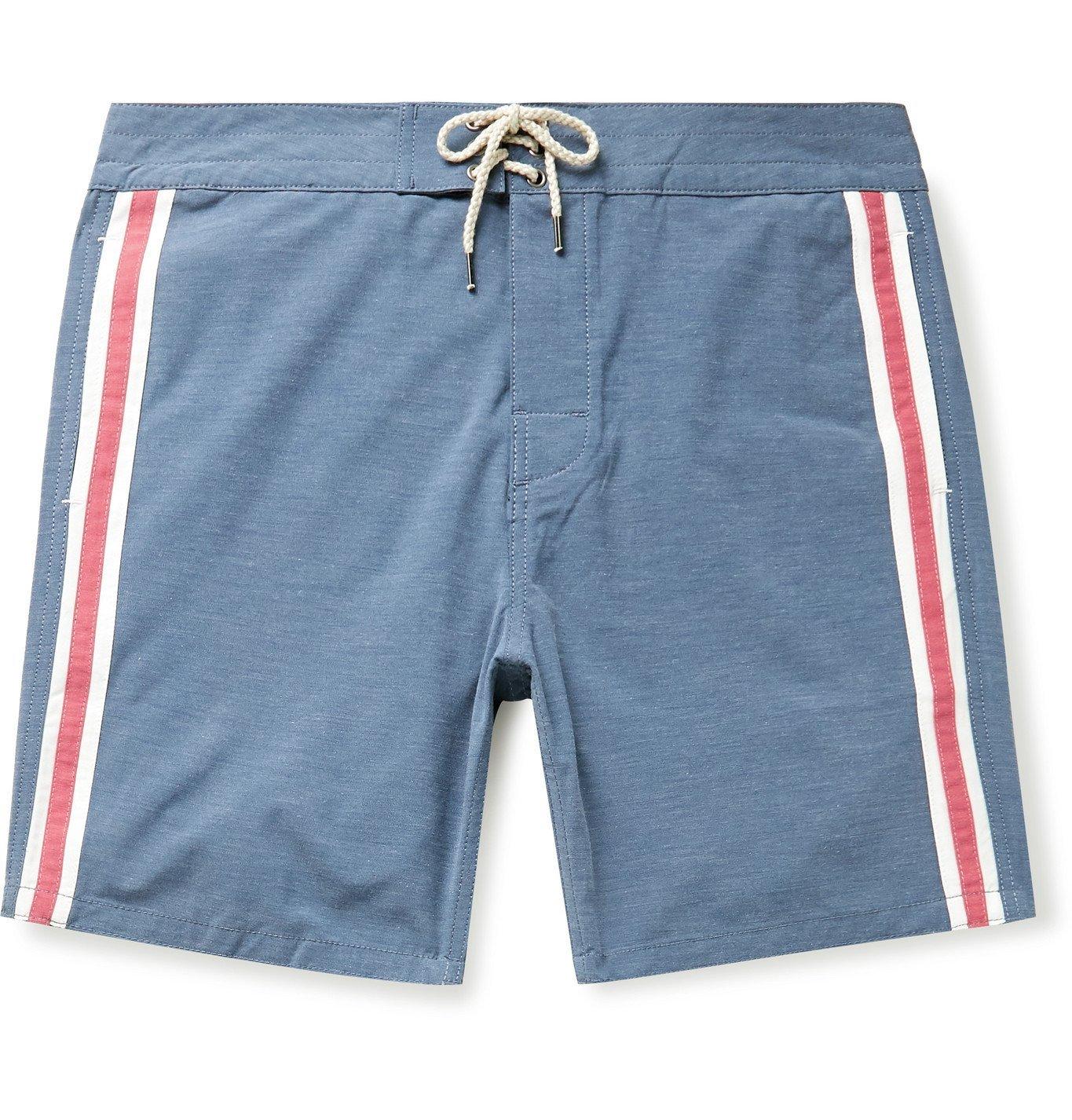 Photo: Faherty - Retro Surf Mid-Length Striped Swim Shorts - Blue