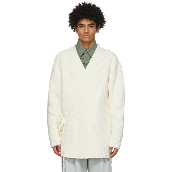 Photo: Dunhill Off-White Chunky Wrap Cardigan