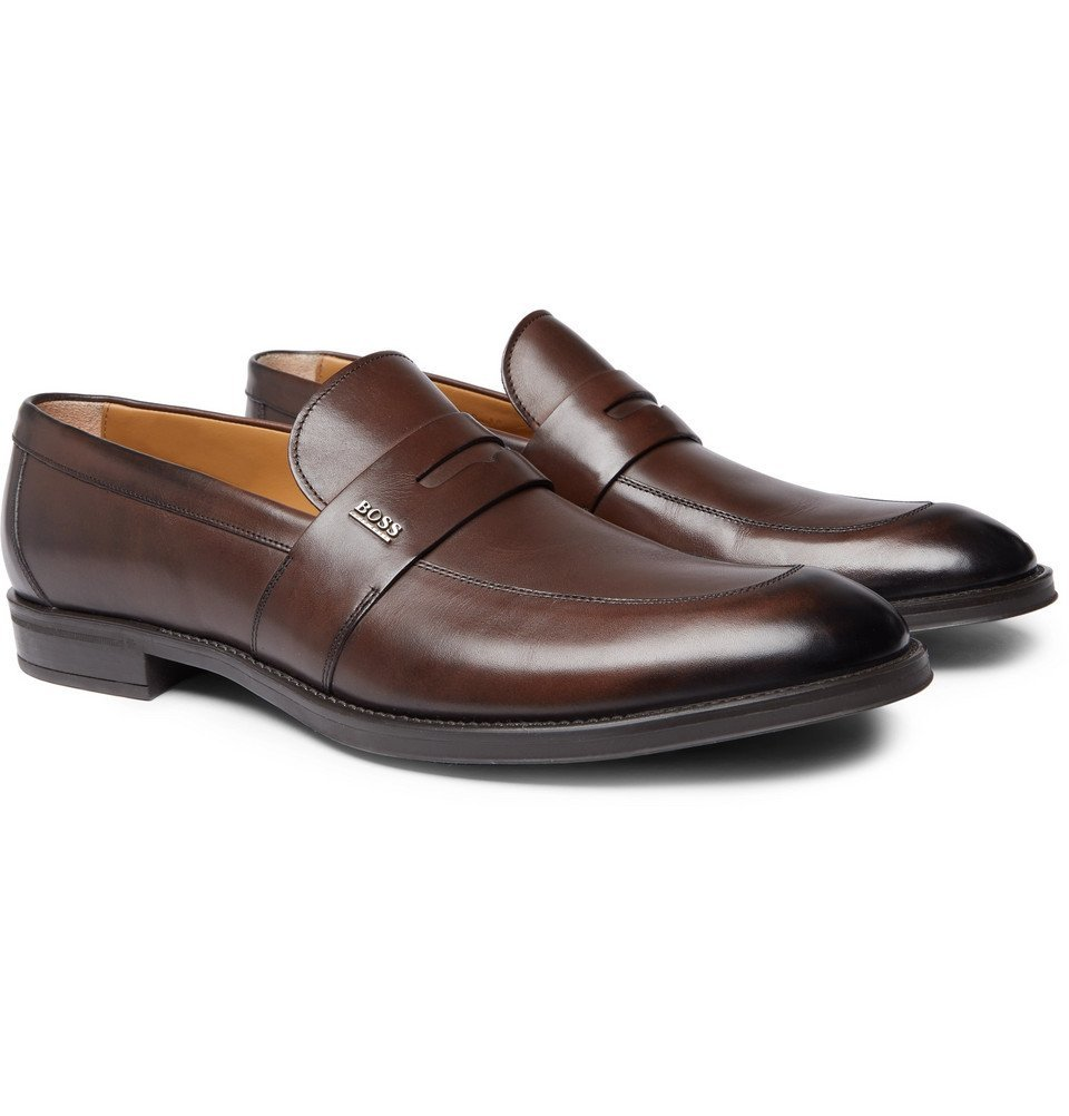 Photo: Hugo Boss - Coventry Burnished-Leather Penny Loafers - Brown