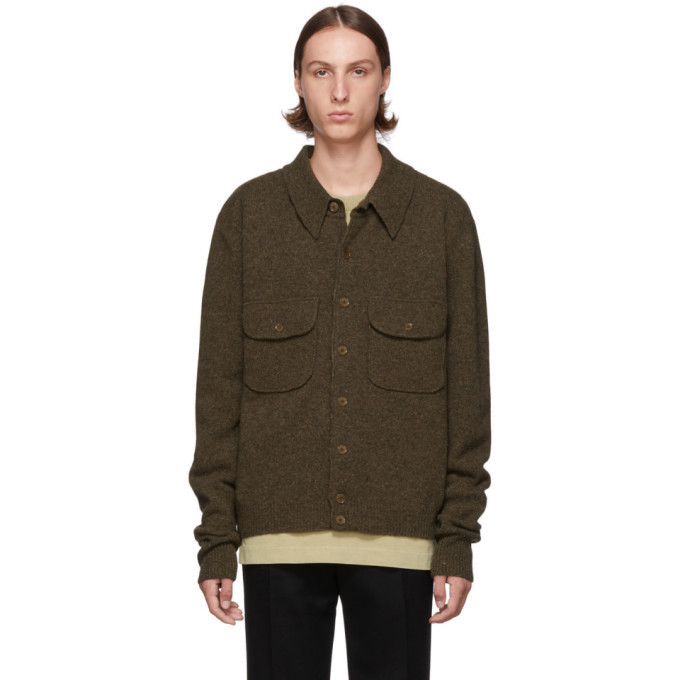 Lemaire Brown Knitted Military Shirt Jacket