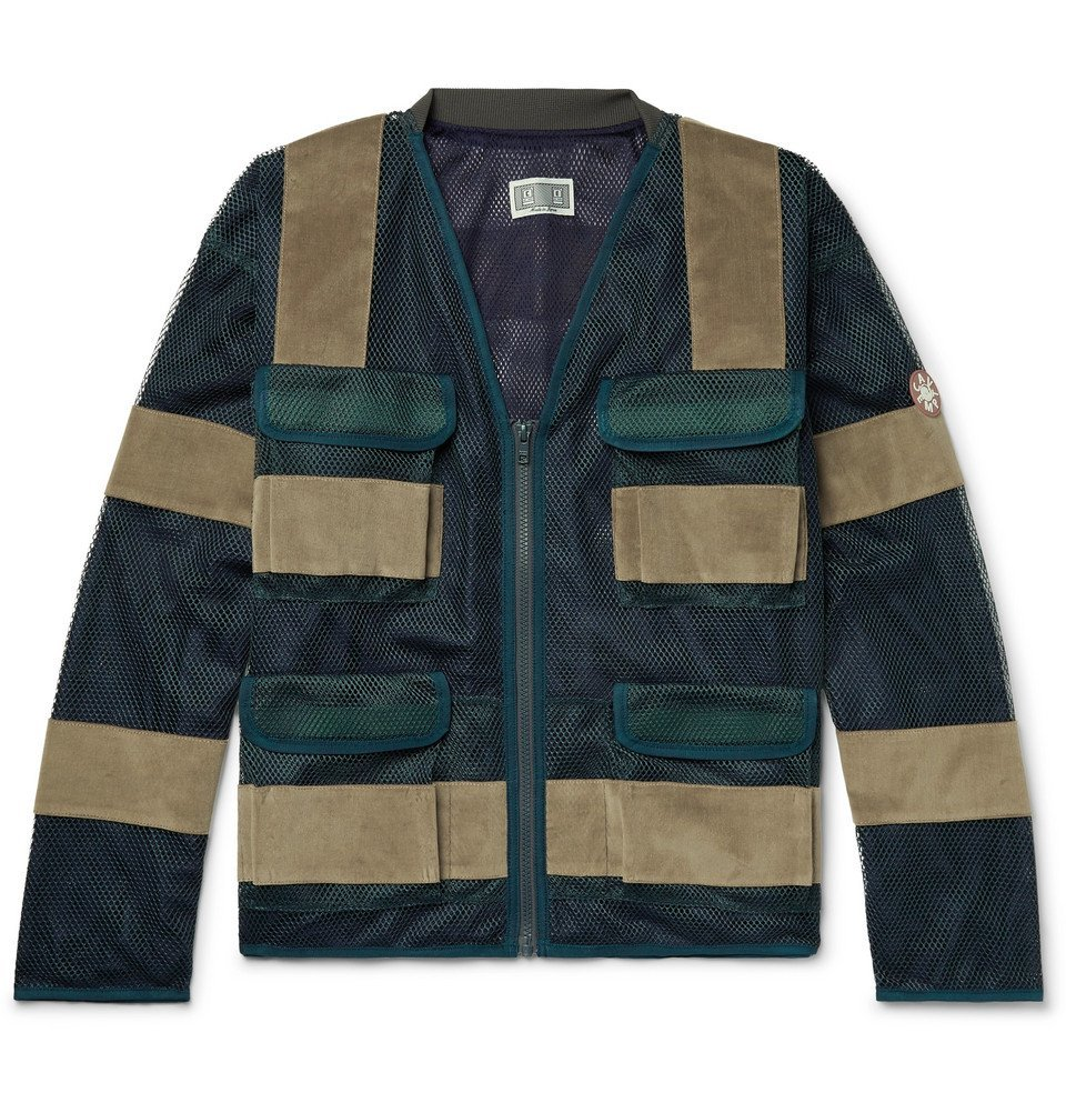 Photo: Cav Empt - Velvet-Panelled Mesh Jacket - Dark green