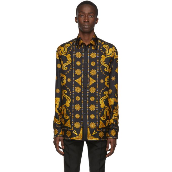 Versace Black and Gold Silk Barocco Western Shirt