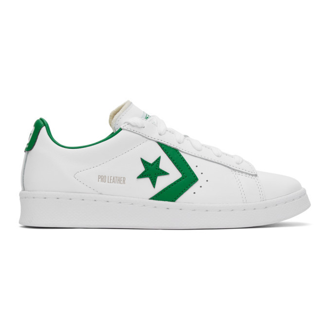 Photo: Converse White and Green Leather Pro OG Sneakers