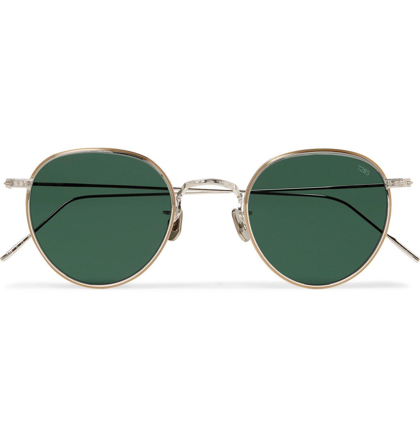 Photo: Eyevan 7285 - Round-Frame Gold-Tone and Titanium Sunglasses - Green