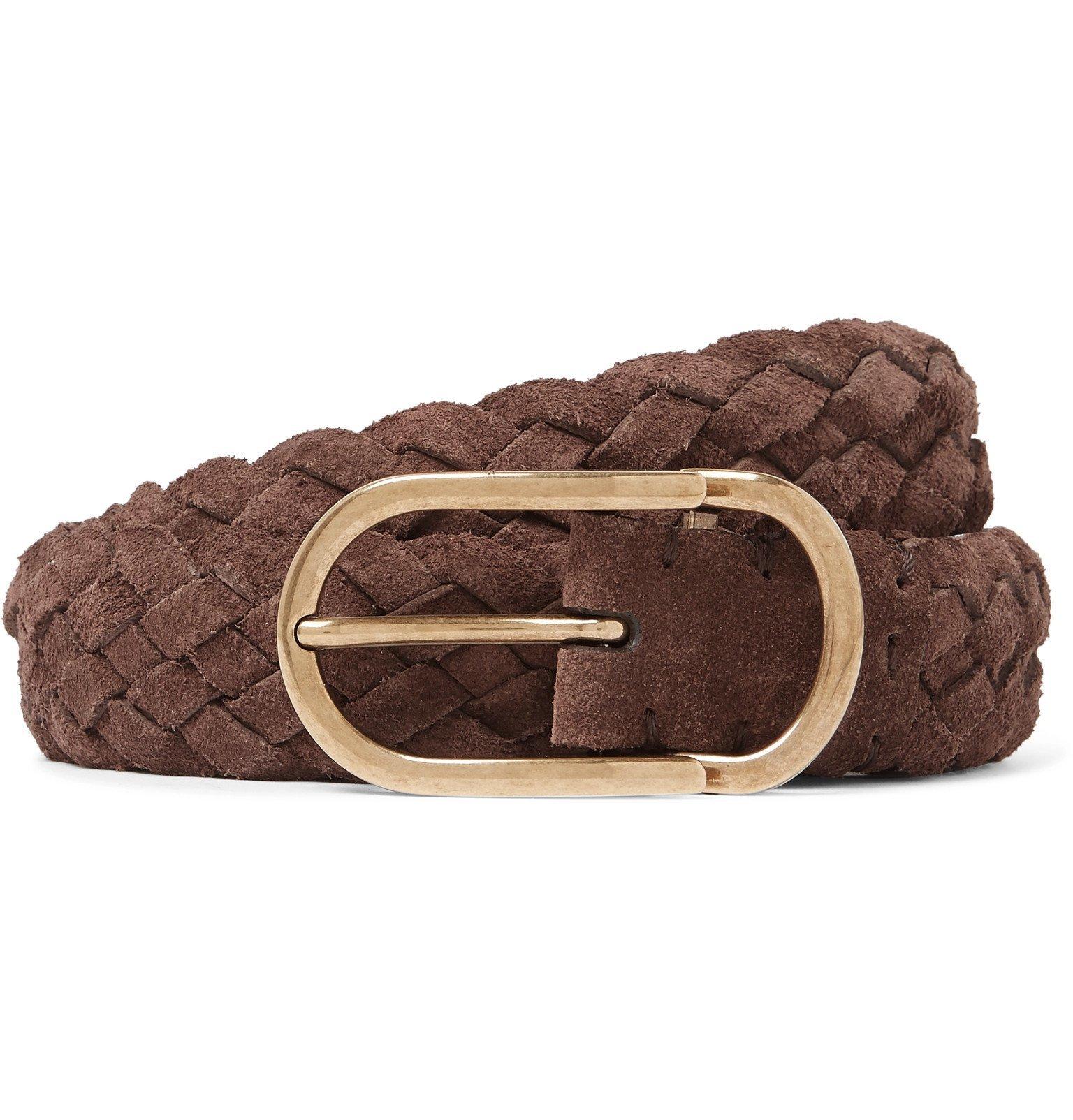 Photo: Brunello Cucinelli - 3.5cm Brown Woven Suede Belt - Brown