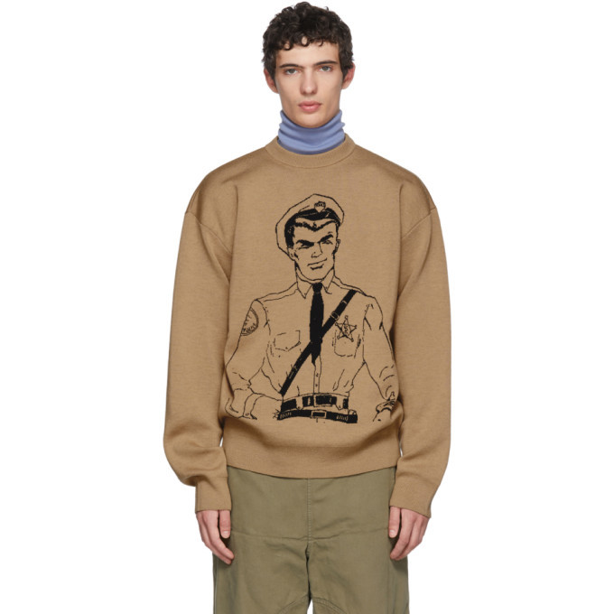 Photo: JW Anderson Tan Policeman Sketch Crewneck Sweater