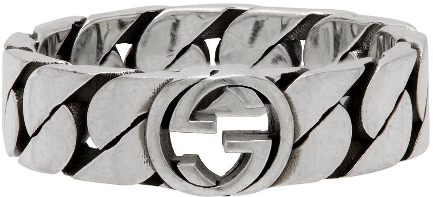 Photo: Gucci Silver Thin Chain Interlocking G Ring