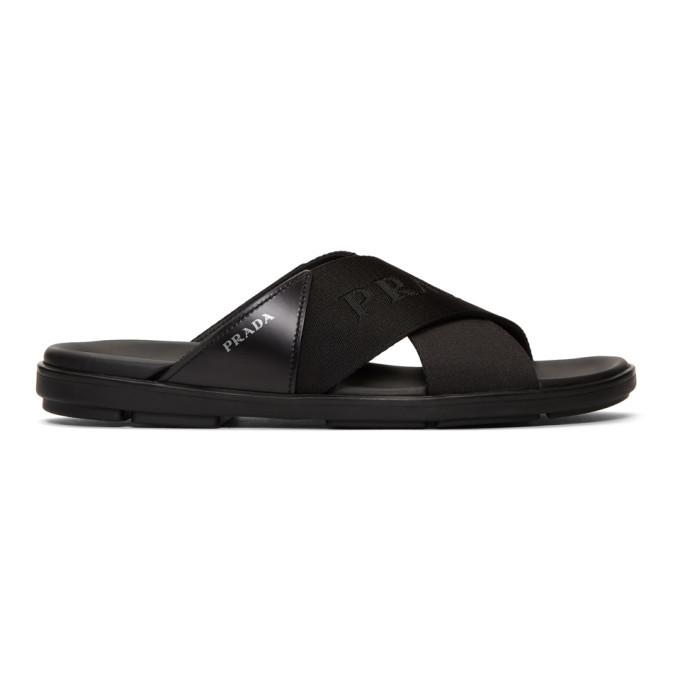 Photo: Prada Black Logo Tape Sandals