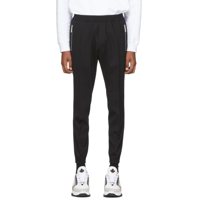 Photo: Dsquared2 Black Tropical Stretch Wool Jogger Fit Trousers
