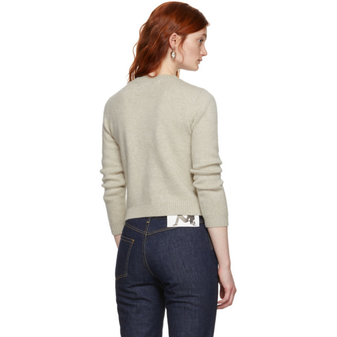 The Elder Statesman Off-White Cashmere Simple Cropped Crewneck Sweater