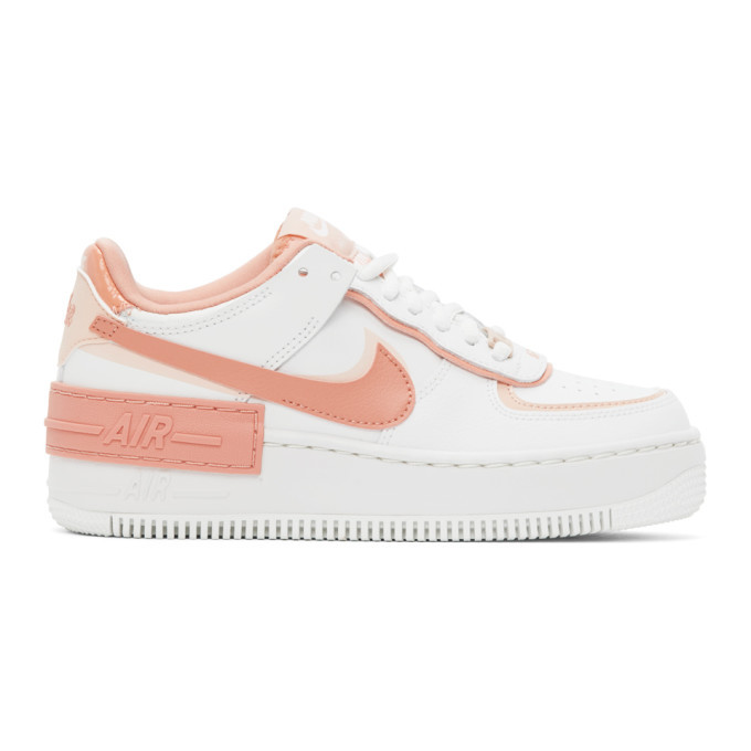 Nike White And Pink Air Force 1 Shadow Sneakers Nike