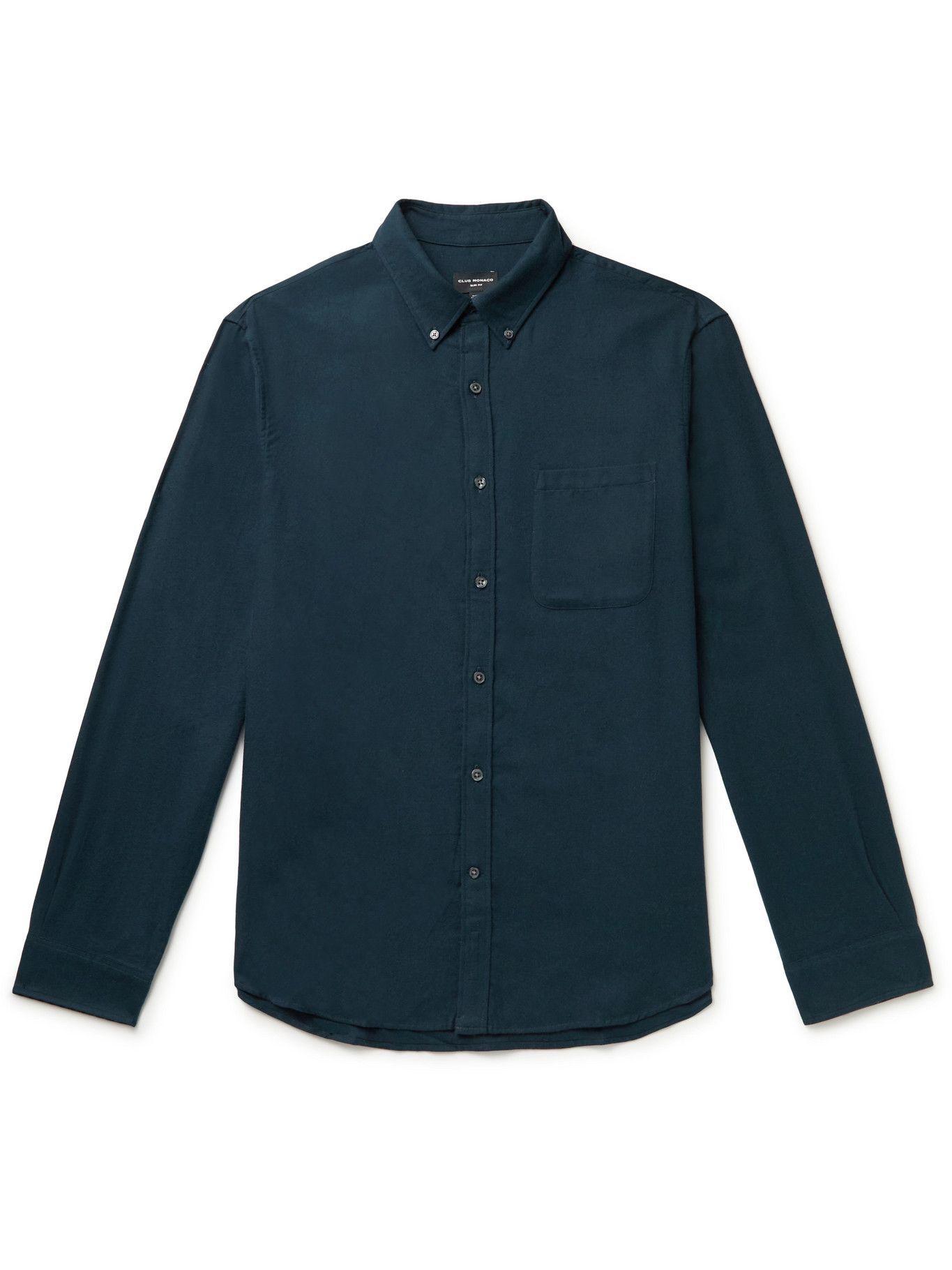 Photo: Club Monaco - Slim-Fit Button-Down Collar Cotton-Flannel Shirt - Blue