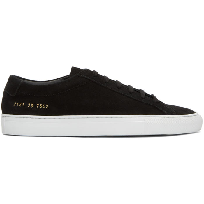 Common Projects Black and White Suede Original Achilles Low Sneakers