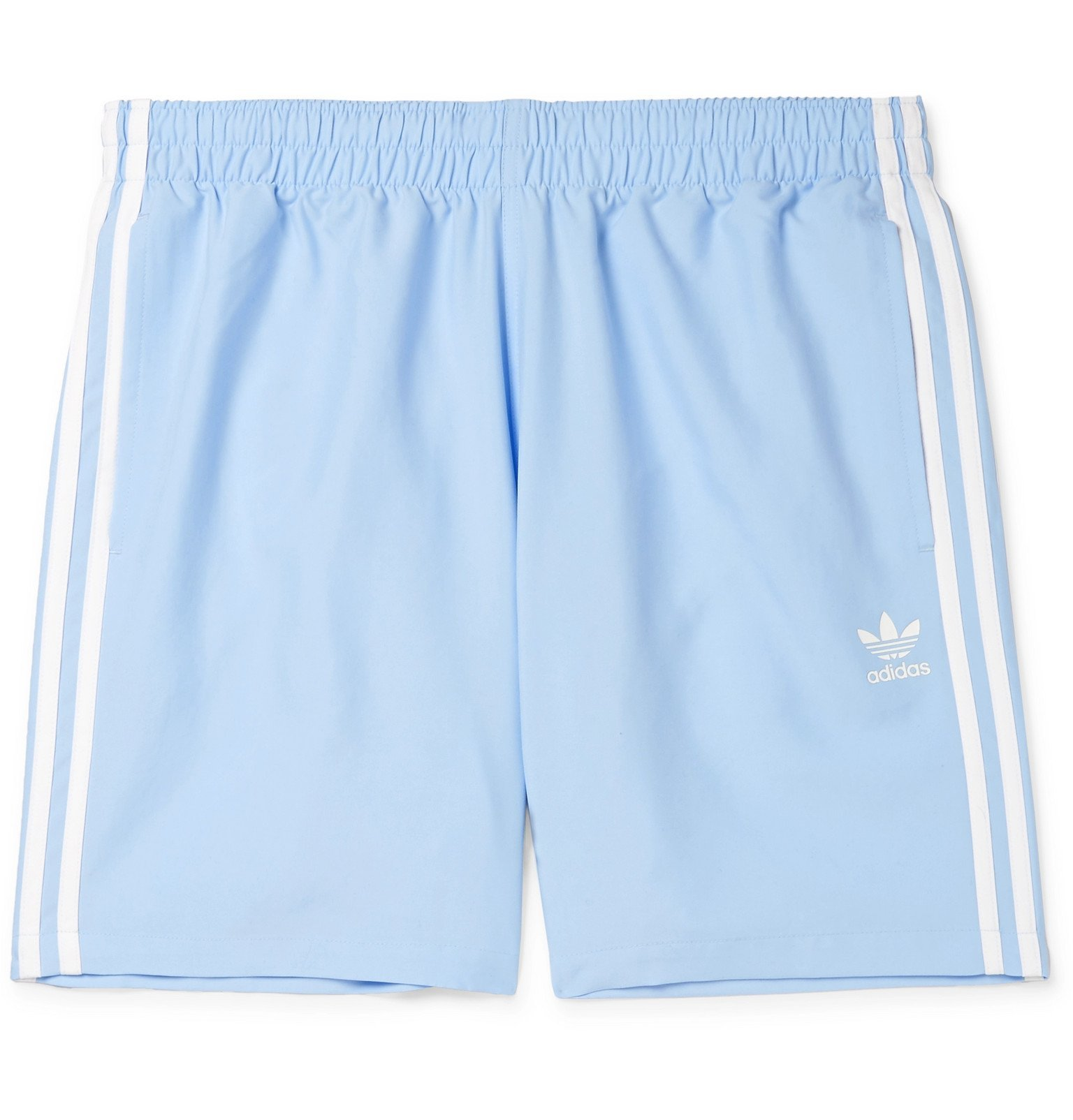 adidas Originals - Mid-Length Striped Logo-Print Swim Shorts - Blue