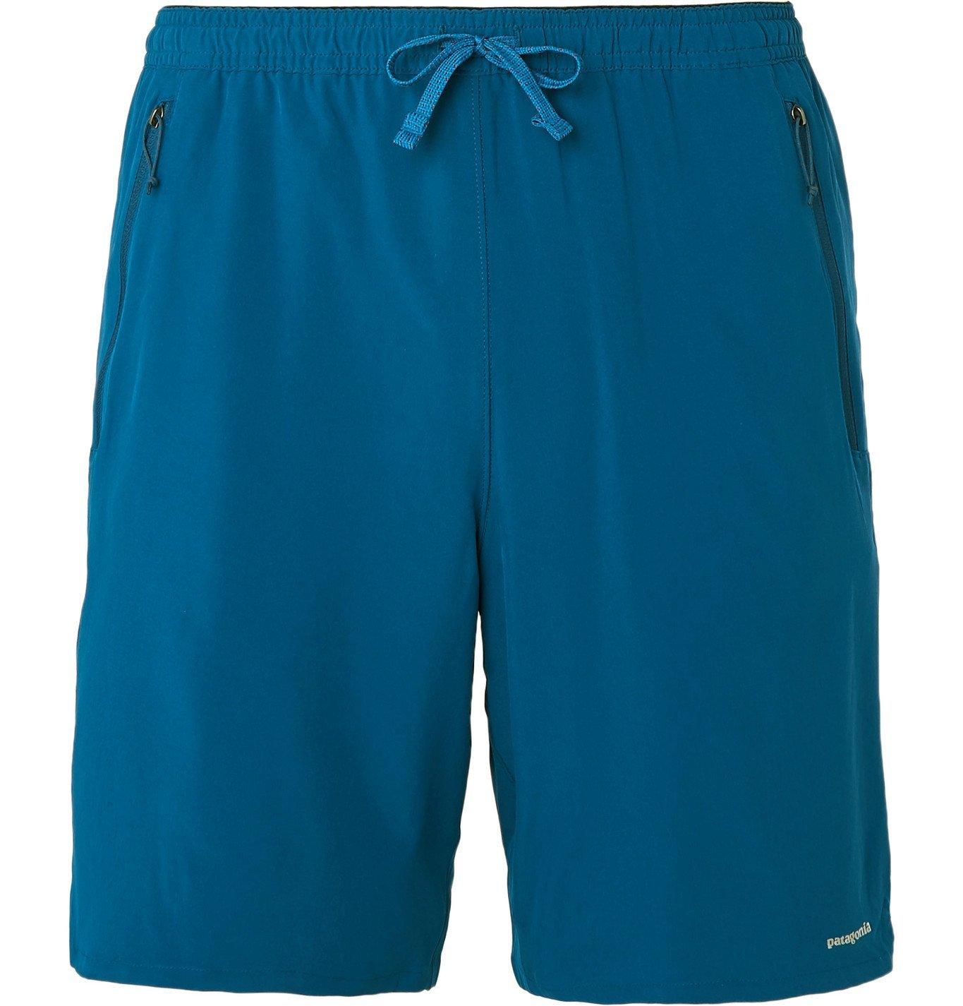 Photo: PATAGONIA - Nine Trails Slim-Fit Camouflage-Print Stretch-Shell Shorts - Blue