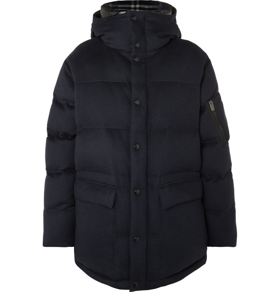 Photo: Burberry - Quilted Cashmere Hooded Down Jacket - Midnight blue