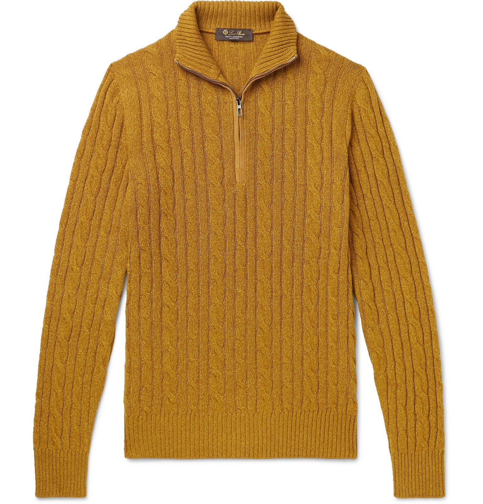 Photo: Loro Piana - Suede-Trimmed Cable-Knit Baby Cashmere Zip-Up Sweater - Yellow