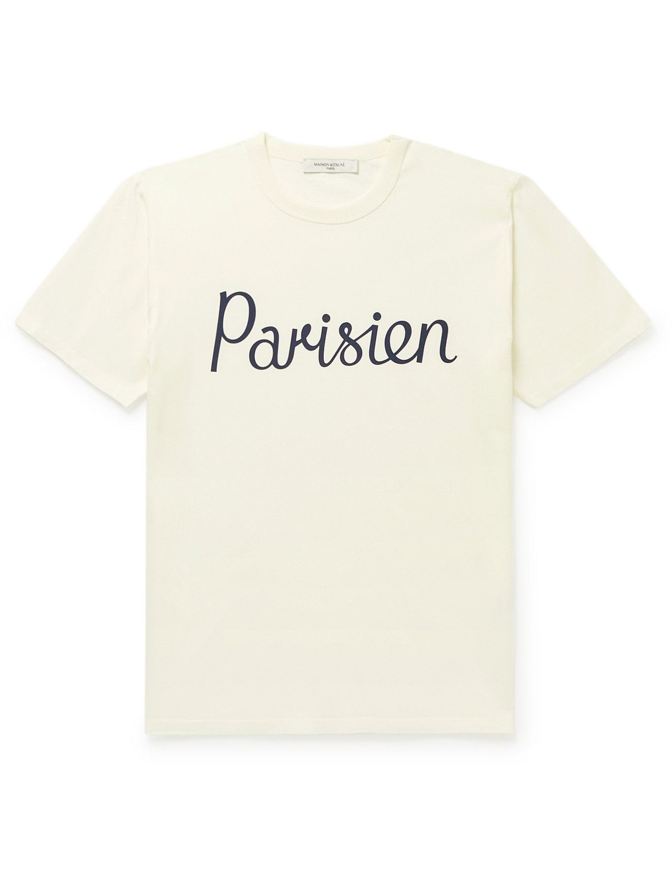 Photo: Maison Kitsuné - Printed Cotton-Jersey T-Shirt - Neutrals