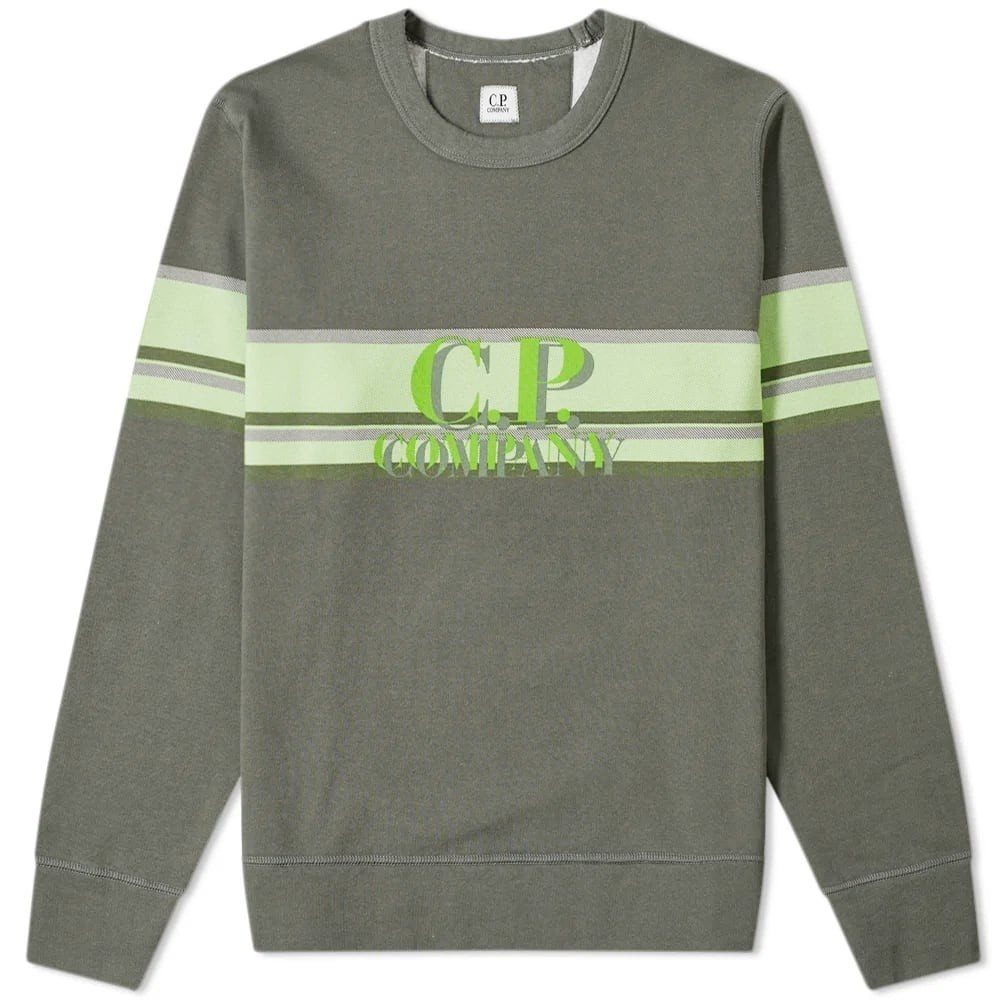 C.P. Company Stripe Logo Crew Sweat