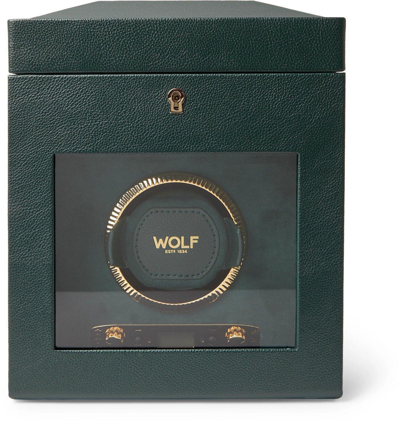 Photo: WOLF - British Racing Pebble-Grain Vegan Leather Watch Winder - Green