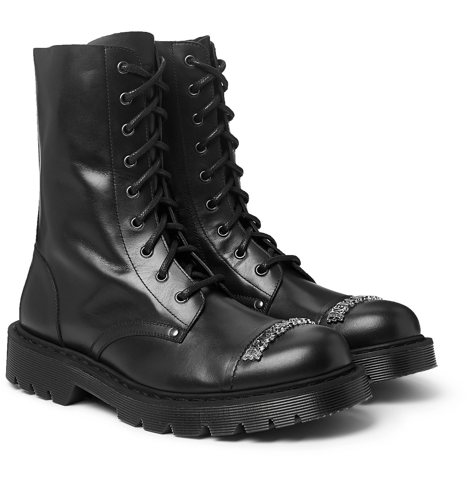 Photo: Vetements - Logo-Detailed Leather Boots - Black