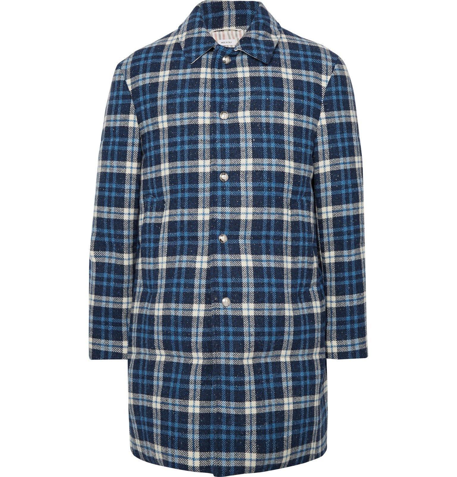 Photo: Thom Browne - Checked Mélange Wool Down Coat - Blue